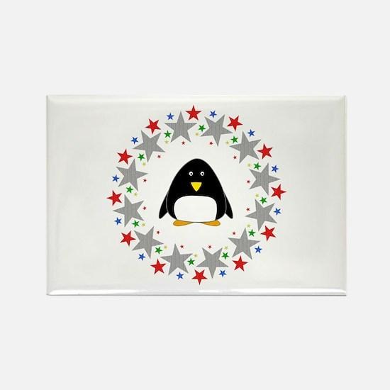 Penguin in Stars Rectangle Magnet