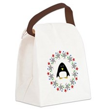 Penguin in Stars Canvas Lunch Bag