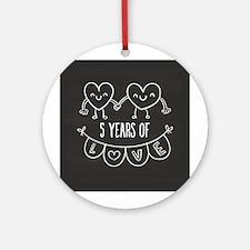 5th Anniversary Gift Chalkboard Hea Round Ornament