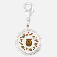 Owl in Stars Silver Round Charm