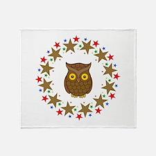Owl in Stars Throw Blanket