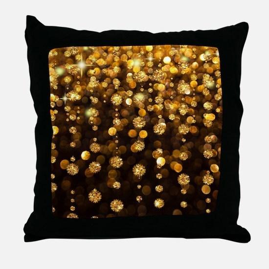 Gold Sparkles Throw Pillow