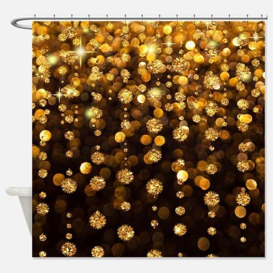 Gold Sparkles Shower Curtain