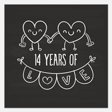 14th Anniversary Gift Chalk Invitations