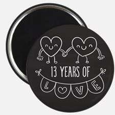 13th Anniversary Gift Chalkboard Hearts Magnet