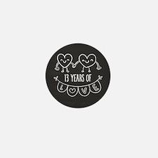 13th Anniversary Gift Chalkboard Heart Mini Button