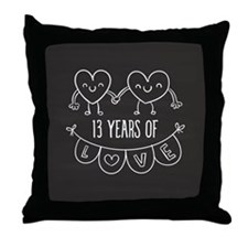 13th Anniversary Gift Chalkboard Hear Throw Pillow
