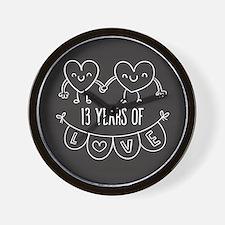 13th Anniversary Gift Chalkboard Hearts Wall Clock
