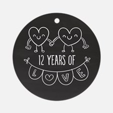 12th Anniversary Gift Chalkboard He Round Ornament