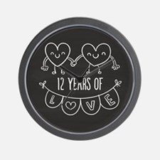 12th Anniversary Gift Chalkboard Hearts Wall Clock