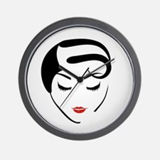 Funny Red head pinup girl Wall Clock