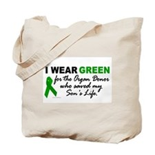 I Wear Green 2 (Saved My Son's Life) Tote Bag