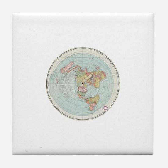 Flat Earth /Gleason's Map 1892 Tile Coaster