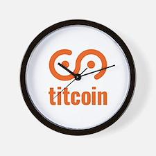 Funny Bitcoin logo Wall Clock