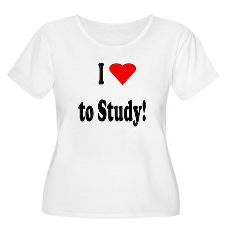 I Heart (Love) to Study Women's Plus Size Scoop Ne
