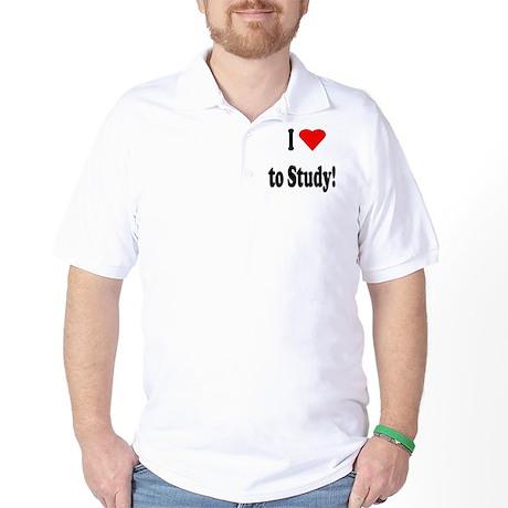 I Heart (Love) to Study Golf Shirt
