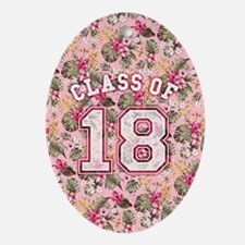 Class of 18 Floral Pink Oval Ornament