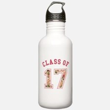 Class of 17 Floral Pink Water Bottle