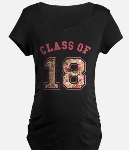Class of 18 Floral Pink Maternity T-Shirt