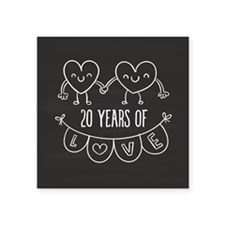 "20th Anniversary Gift Chalk Square Sticker 3"" x 3"""