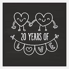 20th Anniversary Gift Chalk 5.25 x 5.25 Flat Cards
