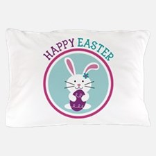 Happy Easter Girl Bunny Rabbit Pillow Case