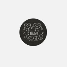 15th Anniversary Gift Chalkboard Heart Mini Button