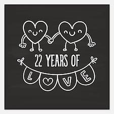 22nd Anniversary Gift Chalk 5.25 x 5.25 Flat Cards