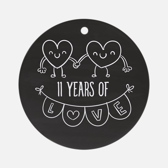 11th Anniversary Gift Chalkboard He Round Ornament