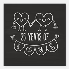 "25th Anniversary Gift Ch Square Car Magnet 3"" x 3"""