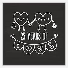 25th Anniversary Gift Chalk Invitations