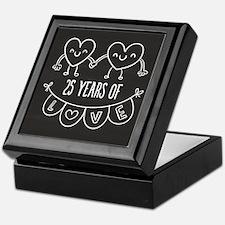 25th Anniversary Gift Chalkboard Hear Keepsake Box