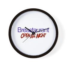 Breastaurant - Open All Night Wall Clock