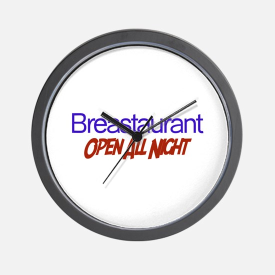 Breastaurant - Open All Night Wall Clock