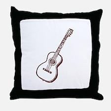 Brown Woodcut Guitar Throw Pillow