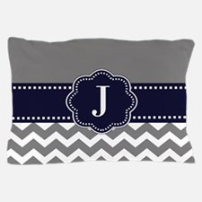 Gray Navy Chevron Monogram Pillow Case