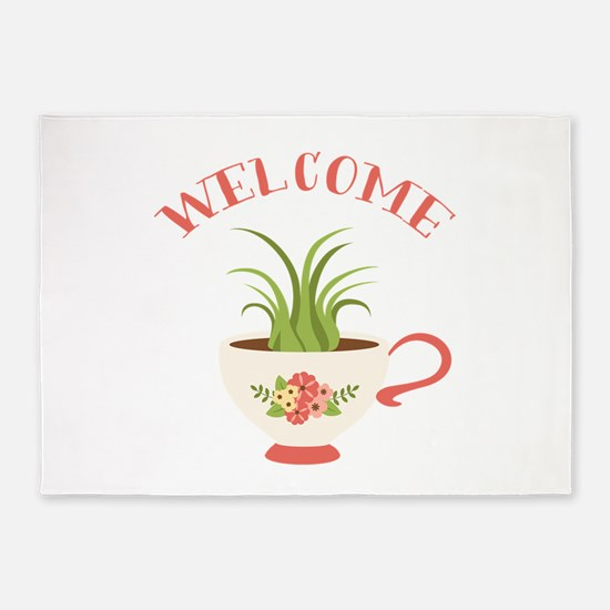 Tea Cup Welcome 5'x7'Area Rug
