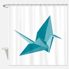 Paper crane shower curtains paper crane fabric shower for Origami curtain