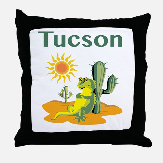 Tucson Lizard under Cactus Throw Pillow