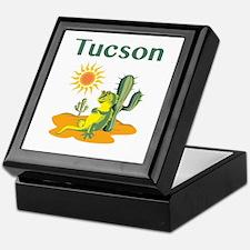 Tucson Lizard Under Cactus Keepsake Box