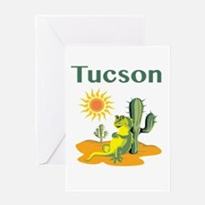 Tucson Lizard under Cactus Greeting Cards