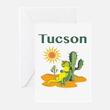 Tucson Lizard under Cactus Greeting Cards