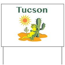 Tucson Lizard under Cactus Yard Sign