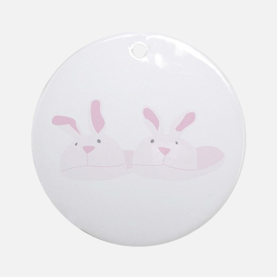 Bunny Slippers Round Ornament