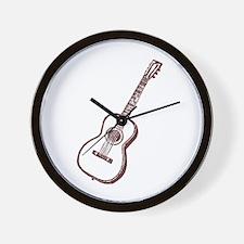 Brown Woodcut Guitar Wall Clock