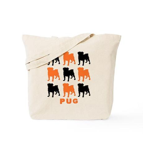Orange & Black Pugz Tote Bag
