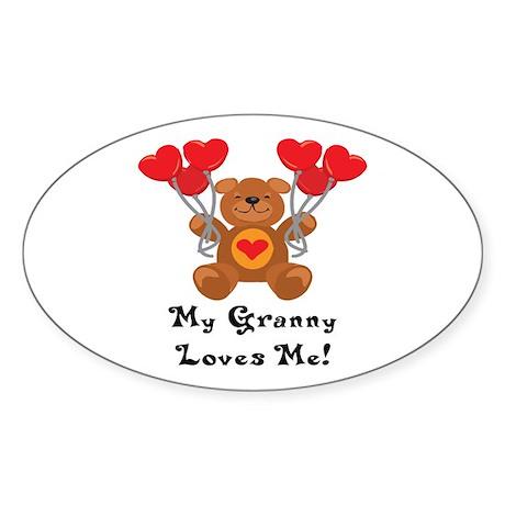 My Granny Loves Me! Oval Sticker