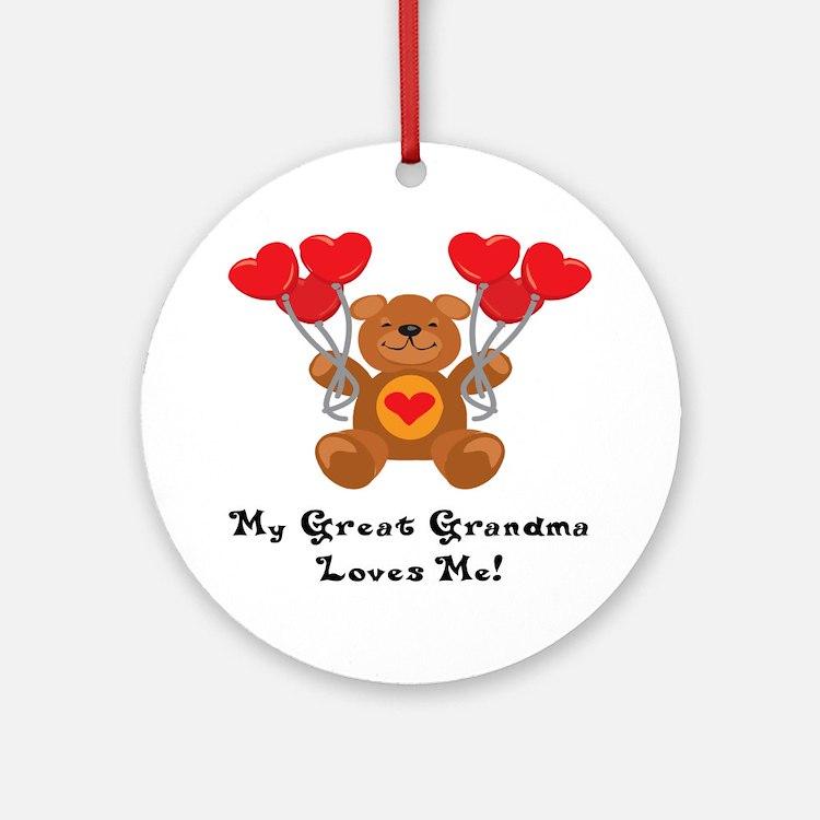 My Great Grandma Loves Me! Ornament (Round)
