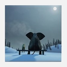 Dog and Elephant Friends Tile Coaster