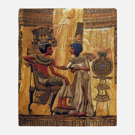 Tutankhamun Ankhesenamun Egypt Gold Throw Blanket